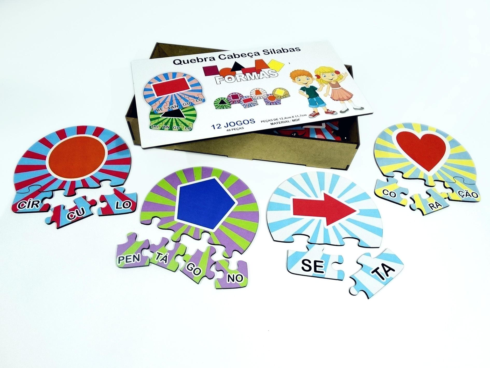 12 Kits Quebra Cabeça Educativo Silabas Formas  Madeira