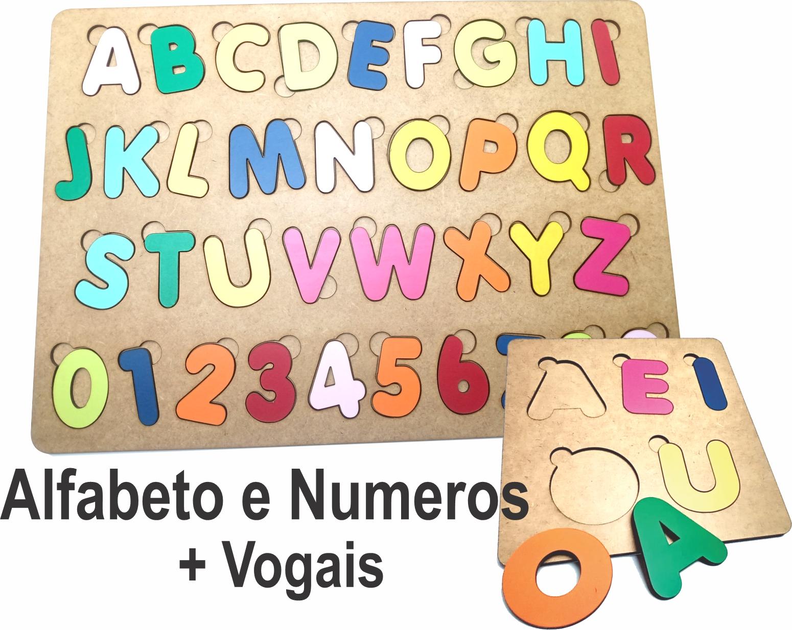 Brinquedo Madeira Letras e Numeros + Vogais Alfabeto MDF - Tabuleiro Grande 41x29cm