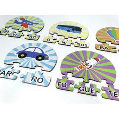 12 Kits Quebra Cabeça Educativo Silabas Transportes  Madeira