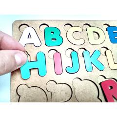 Brinquedo Educativo Pedagógico em Madeira Letras Coloridas Alfabeto 27x19cm  + Vogais 19x19cm