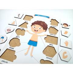 Brinquedo Educativo Pedagógico Jogo Aprendendo formas e as Partes Corpo Humano - Menino