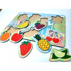 Brinquedo Educativo Jogo Quebra Cabeça Infantil Em Madeira Frutas