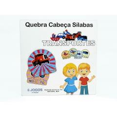 6 Kits Quebra Cabeça Educativo Silabas Transporte em Madeira