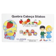 12 Kits Quebra Cabeça Educativo Silabas Frutas  Madeira