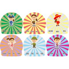 12 Kits Quebra Cabeça Educativo Silabas Profissões  Madeira