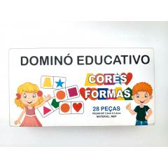 Brinquedo Dominó Jogo Educativo Pedagógico Formas e Cores 28pcs em Madeira