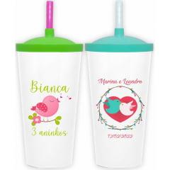 Copos Aniversário Infantil - Copos Personalizados Twister Colorido Tampa e Canudo